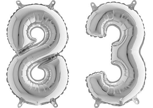Luftballon Zahl 83 Zahlenballon silber (66 cm)
