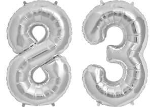 Luftballon Zahl 83 Zahlenballon silber (86 cm)