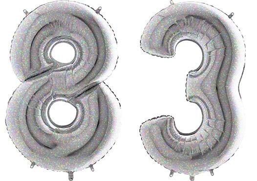 Luftballon Zahl 83 Zahlenballon silber-holographic (100 cm)