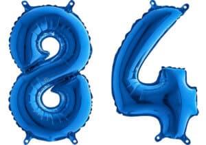 Luftballon Zahl 84 Zahlenballon blau (66 cm)