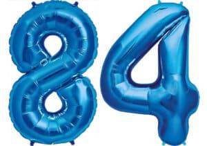 Luftballon Zahl 84 Zahlenballon blau (86 cm)