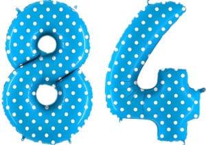 Luftballon Zahl 84 Zahlenballon blau mit weißen Punkten (100 cm)