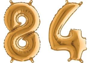 Luftballon Zahl 84 Zahlenballon gold (66 cm)