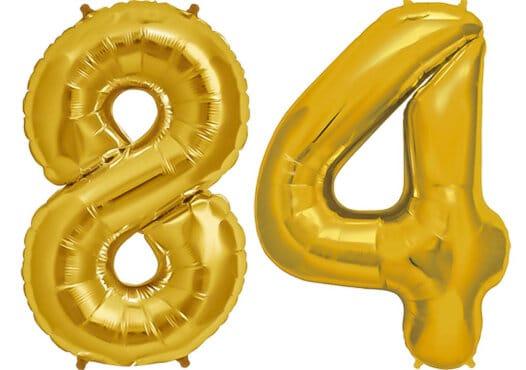 Luftballon Zahl 84 Zahlenballon gold (86 cm)