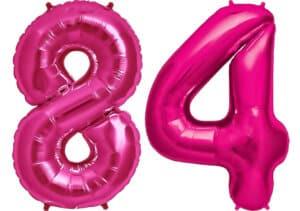 Luftballon Zahl 84 Zahlenballon pink (86 cm)