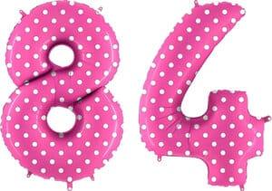 Luftballon Zahl 84 Zahlenballon pink mit weißen Punkten (100 cm)
