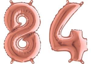 Luftballon Zahl 84 Zahlenballon rosegold (66 cm)