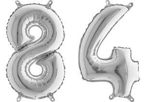 Luftballon Zahl 84 Zahlenballon silber (66 cm)