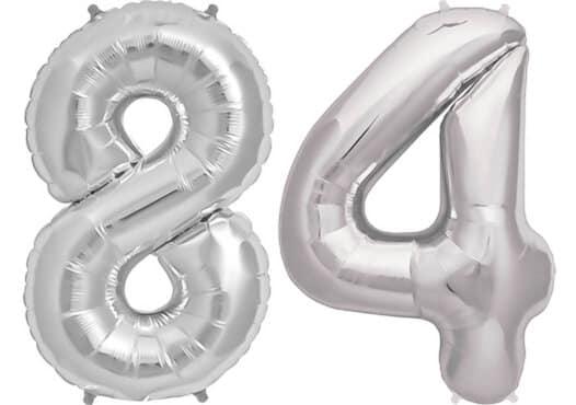 Luftballon Zahl 84 Zahlenballon silber (86 cm)