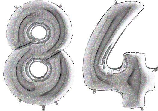 Luftballon Zahl 84 Zahlenballon silber-holographic (100 cm)