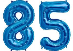 Luftballon Zahl 85 Zahlenballon blau (86 cm)