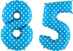 Luftballon Zahl 85 Zahlenballon blau mit weißen Punkten (100 cm)