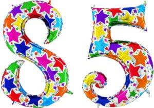 Luftballon Zahl 85 Zahlenballon silber mit bunten Sternen (100 cm)