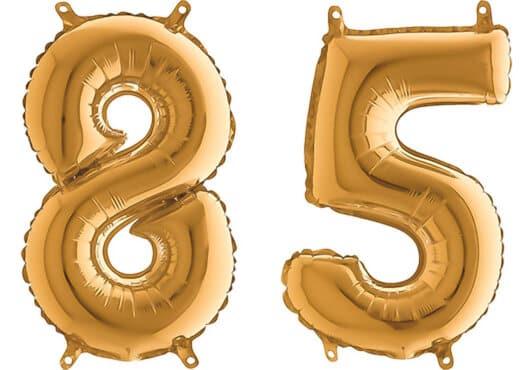 Luftballon Zahl 85 Zahlenballon gold (66 cm)