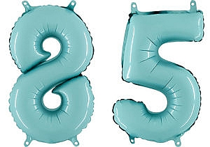 Luftballon Zahl 85 Zahlenballon pastell-blau (100 cm)