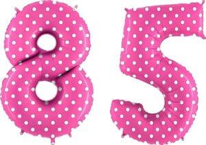 Luftballon Zahl 85 Zahlenballon pink mit weißen Punkten (100 cm)