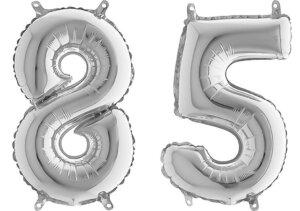 Luftballon Zahl 85 Zahlenballon silber (66 cm)