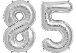 Luftballon Zahl 85 Zahlenballon silber (86 cm)