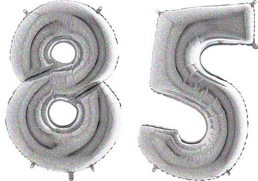 Luftballon Zahl 85 Zahlenballon silber-holographic (100 cm)