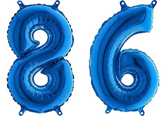 Luftballon Zahl 86 Zahlenballon blau (66 cm)