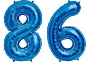 Luftballon Zahl 86 Zahlenballon blau (86 cm)