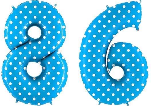 Luftballon Zahl 86 Zahlenballon blau mit weißen Punkten (100 cm)