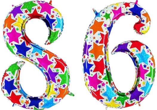 Luftballon Zahl 86 Zahlenballon silber mit bunten Sternen (100 cm)