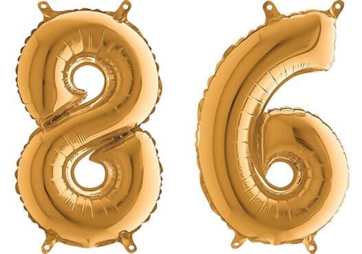 Luftballon Zahl 86 Zahlenballon gold (66 cm)