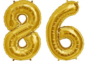 Luftballon Zahl 86 Zahlenballon gold (86 cm)