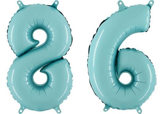 Luftballon Zahl 86 Zahlenballon pastell-blau (100 cm)