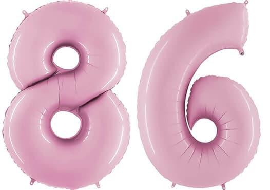 Luftballon Zahl 86 Zahlenballon pastell-pink (100 cm)
