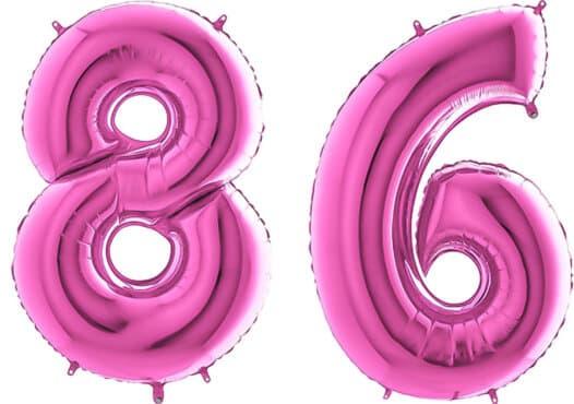 Luftballon Zahl 86 Zahlenballon pink (66 cm)