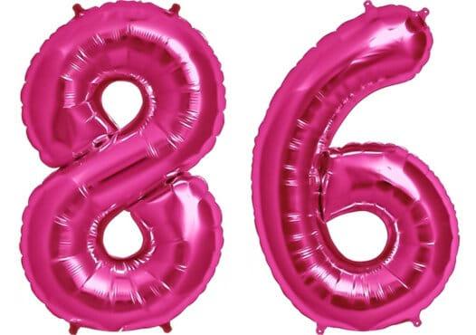 Luftballon Zahl 86 Zahlenballon pink (86 cm)