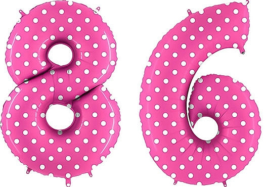 Luftballon Zahl 86 Zahlenballon pink mit weißen Punkten (100 cm)