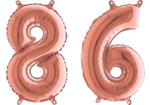 Luftballon Zahl 86 Zahlenballon rosegold (66 cm)