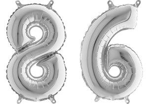 Luftballon Zahl 86 Zahlenballon silber (66 cm)