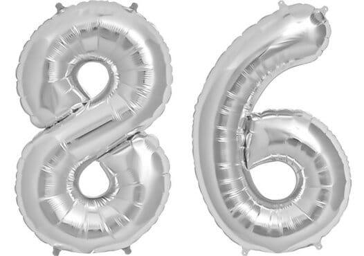 Luftballon Zahl 86 Zahlenballon silber (86 cm)