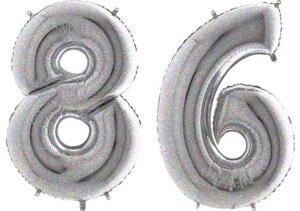 Luftballon Zahl 86 Zahlenballon silber-holographic (100 cm)