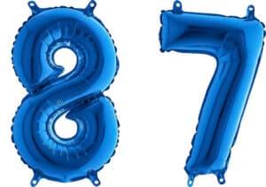 Luftballon Zahl 87 Zahlenballon blau (66 cm)
