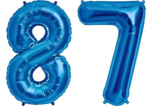 Luftballon Zahl 87 Zahlenballon blau (86 cm)