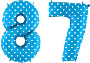 Luftballon Zahl 87 Zahlenballon blau mit weißen Punkten (100 cm)