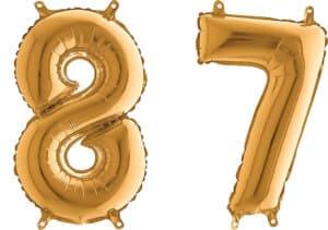 Luftballon Zahl 87 Zahlenballon gold (66 cm)