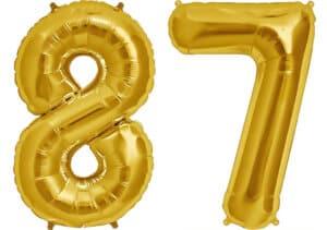 Luftballon Zahl 87 Zahlenballon gold (86 cm)