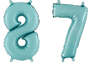 Luftballon Zahl 87 Zahlenballon pastell-blau (100 cm)