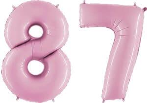 Luftballon Zahl 87 Zahlenballon pastell-pink (100 cm)