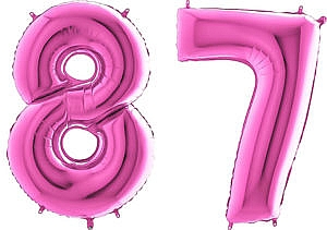 Luftballon Zahl 87 Zahlenballon pink (66 cm)