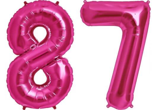 Luftballon Zahl 87 Zahlenballon pink (86 cm)
