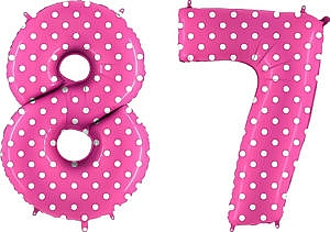 Luftballon Zahl 87 Zahlenballon pink mit weißen Punkten (100 cm)