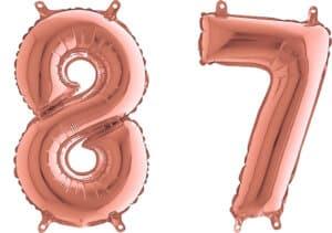 Luftballon Zahl 87 Zahlenballon rosegold (66 cm)