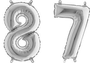 Luftballon Zahl 87 Zahlenballon silber (66 cm)